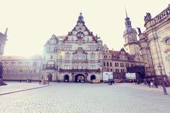DRESDEN TYSKLAND - December 25, 2012: den historiska mitten av Dresden, Tyskland Arkivbild