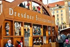Dresden Tyskland, December 19, 2016: Julmarknad dresden germany Fira jul i Europa Arkivfoto