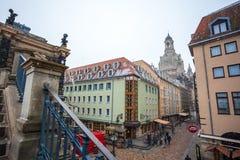 22 01 2018 Dresden, Tyskland - gamla härliga hus i Dresden, S Royaltyfri Bild