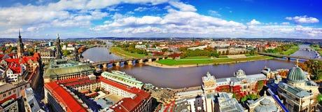 Dresden Tyskland. panorama Arkivbilder