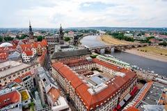 Dresden und Brücke Stockfotos