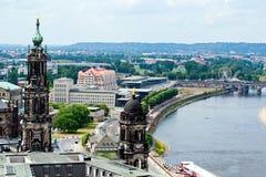 Dresden und Elbe Stockfotografie
