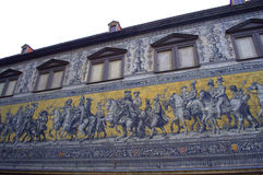 Dresden unique mural. The famous unique mural on an outer  Castle wall,Dresden,Germany.25,000 painted tiles made of Meissen porcelain form the Procession of Stock Image