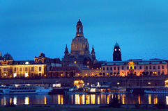 Dresden view from Elbe river by night Royalty Free Stock Image
