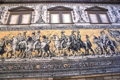 Dresden wall painting : The Fuerstenzug Royalty Free Stock Image