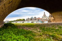 Dresden with less water level. In the river elbe stock images