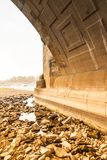 Dresden with less water level. In the river elbe stock image