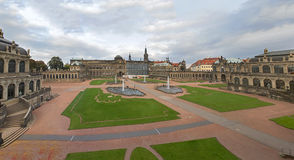 Dresden Zwinger palace panorama with fountains and park Stock Photography