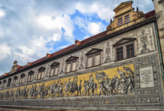 Dresdens Fuerstenzug Fotografering för Bildbyråer