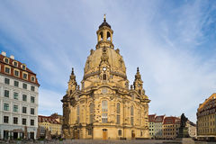 Dresdner Frauenkirche. The rebuilt  Dresdner Frauenkirche (Church of Our Lady) in the oldtown with a nice background having some light clouds and blue sky Royalty Free Stock Images