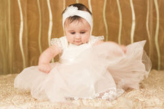 Dreseed festive baby girl Royalty Free Stock Images