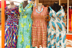 Dress in Accra Ghana. Colorful dresses at an outdoor market in Accra Ghana Stock Photo