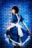 Dress of alice. Portrait of a young woman dressed as Alice in Wonderland, video game Royalty Free Stock Photo