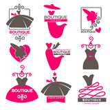 Dress boutique or fashion atelier salon vector icons set. Dress boutique or fashion atelier salon logos templates set for dressmaker shop. Vector isolated icons Stock Photo