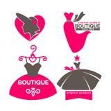 Dress boutique or fashion atelier salon vector icons templates set Royalty Free Stock Photo