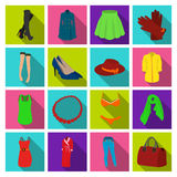 Dress, bra, shoes, women`s clothing. Women`s clothing set collection icons in flat style vector symbol stock Royalty Free Stock Photos