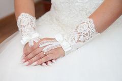 Bride in wedding dress stock photography