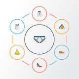 Dress Colorful Outline Icons Set. Collection Of Man Footwear, Trousers, Evening Gown And Other Elements. Also Includes Royalty Free Stock Image