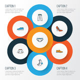 Dress Colorful Outline Icons Set. Collection Of Panties, Man Footwear, Socks And Other Elements. Also Includes Symbols. Dress Colorful Outline Icons Set Royalty Free Stock Photography