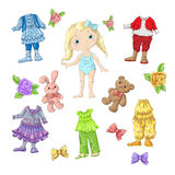 Dress a cute doll with sets of clothes with accessories and toys. Vector illustration Royalty Free Stock Images