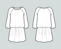Dress with elastic waist. Front and back views royalty free stock photo