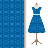 Dress fabric with blue arabic pattern royalty free illustration