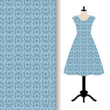 Dress fabric with blue royal pattern stock illustration