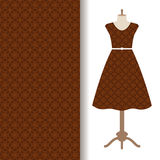 Dress fabric with brown arabic pattern royalty free illustration