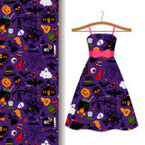 Dress fabric with colorful halloween pattern Royalty Free Stock Images