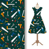 Dress fabric pattern with construction tools vector illustration