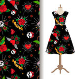 Dress fabric pattern with funny tattoo stock illustration