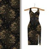Dress fabric pattern with koi fish. Women dress fabric pattern design with koi fish. Vector illustration Stock Image