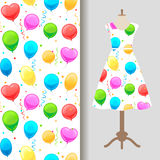 Dress fabric pattern with party baloons. Women dress fabric pattern design with party baloons. Vector illustration Stock Images