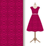 Dress fabric with pink royal pattern vector illustration