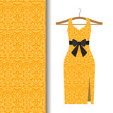 Dress fabric with yellow arabic pattern. Women dress fabric pattern design on a hanger with yellow traditional arabic pattern. Vector illustration stock illustration