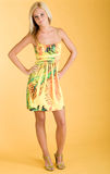 Dress fashion. Young adult poses wearing cute yellow dress Royalty Free Stock Image