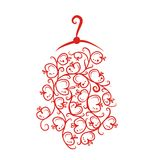 Dress with floral ornament on hanger, sketch for Royalty Free Stock Photos