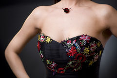 Dress with flower emroidery Stock Image