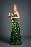 Dress from flowers Royalty Free Stock Images