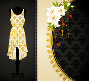 Dress with flowers and ornaments. Royalty Free Stock Photo