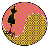 Dress Form Sticker. Illustration of a silhouette dress form in shape of a circle royalty free illustration