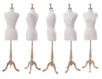 Dress form at various angles isolated on white. Dress form shown at various angles isolated on white stock photography