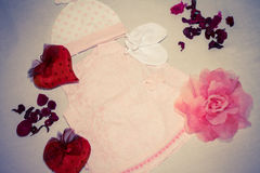 Dress for a girl, vintage. Vintage dress and hearts for girls Stock Photos