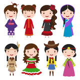 Dress girls in traditional costumes stock illustration