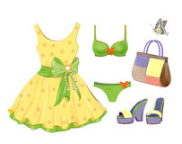 Dress, handbag, bikini and sandals. Royalty Free Stock Photography