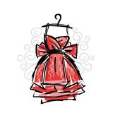 Dress on hangers, sketch for your design Royalty Free Stock Photos