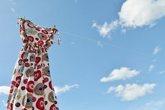 Dress hanging on clothesline Royalty Free Stock Photography
