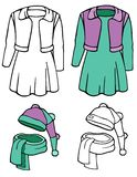 Dress, hat and scarf, teen fashions. Comes with bonus black outline versions royalty free illustration