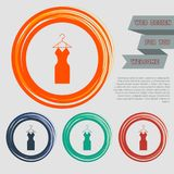 Dress Icon on the red, blue, green, orange buttons for your website and design with space text. Illustration Royalty Free Stock Image
