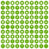 100 dress icons hexagon green. 100 dress icons set in green hexagon isolated vector illustration Royalty Free Stock Images